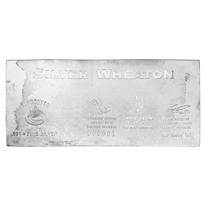 100 oz Silver Wheaton Vancouver Canucks Silver Bar