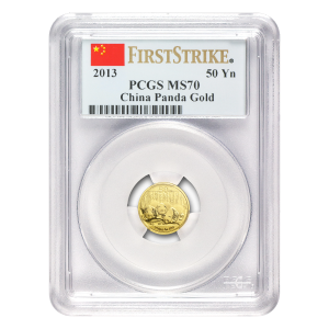 1/10 oz 2013 Chinese Panda PCGS First Strike MS 70 Gold Coin