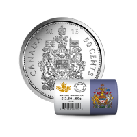 Roll of 25 x 2016 50-cent Canadian Circulation Coins
