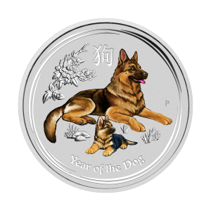 1/2 oz 2018 Perth Mint Lunar Year of the Dog Colourized Silver Coin