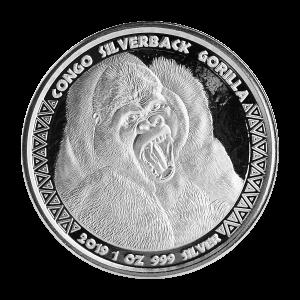 1 oz 2019 Congo Silverback Gorilla Silver Coin