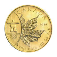 1 oz 2008 Canadian Maple Leaf Olympic Privy Gold Coin