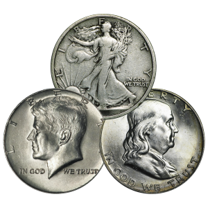 $0.50 Face Value U.S. Half Dollar Circulation 90% Silver Coin