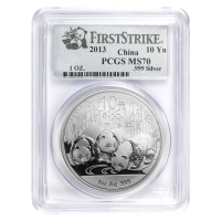 1 oz 2013 Chinese Panda PCGS MS-70 First Strike Silver Coin