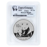1 oz 2012 Chinese Panda PCGS MS-69 First Strike Silver Coin