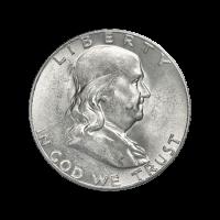 Halber Dollar Silbermünze Franklin-P 90% reines Silber - Zufallsjahr