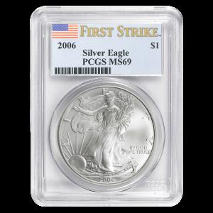Pièce d'argent de première frappe Aigle américain MS-69 2006 de 1 once