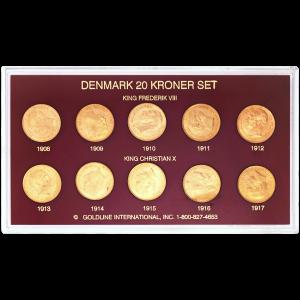 Set of 10 x Random Year Danish 20 Kroner Gold Coins