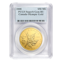 1 oz 2008 Canadian Maple Leaf Olympic Privy PCGS Superb Gem Gold Coin