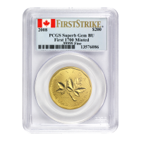 1 oz 2008 Royal Canadian Mint Maple Leaf First Strike 99999 PCGS Superb Gem Gold Coin