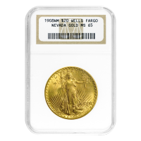 1908-NM $20 Saint-Gaudens Double Eagle WFNG MS-65 Gold Coin