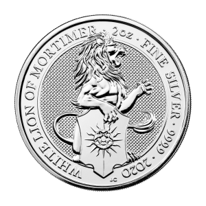 2 oz 2020 Royal Mint Queen's Beasts | White Lion of Mortimer Silver Coin