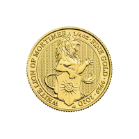1/4 oz 2020 Royal Mint Queen's Beasts | White Lion of Mortimer Gold Coin