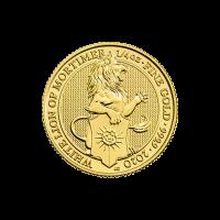 1/4 oz Goldmünze - Queen's Beasts (Die Tiere der Königin) | der weiße Löwe von Mortimer -  Royal Mint 2019