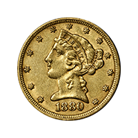 US $5 1880 Gold Liberty