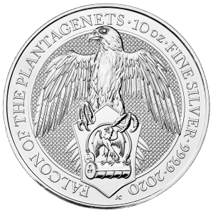 10 oz 2020 Royal Mint Queen's Beasts | Falcon of the Plantagenets Silver Coin