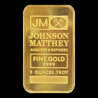 2 oz Johnson Matthey Blank Back Gold Bar