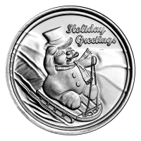 1 oz Holiday Series | Snowman on Sled Silver Round