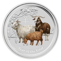1 oz 2015 Lunar Year of the Goat Colorized Silver Coin