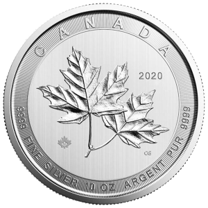 10 oz 2020 Royal Canadian Mint Magnificent Maple Leaves Silver Coin