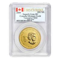 1 oz 2009 Olympic Maple Leaf PCGS Superb Gem gold Coin