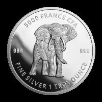 1 oz 2019 Republic of Chad Mandala Elephant Silver Coin