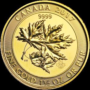 1.5 oz Random Year Canadian Maple Leaf Superleaf Gold Coin