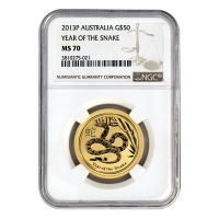 1/2 oz 2013 Perth Mint Lunar Year of The Snake NGC MS-70 Gold Coin
