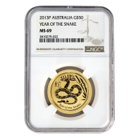 1/2 oz 2013 Perth Mint Lunar Year of The Snake NGC MS-69 Gold Coin