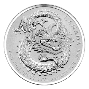 1 oz 2019 Royal Canadian Mint Dragon High Relief Silver Coin