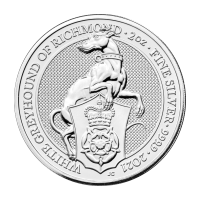 2 oz 2021 Royal Mint Queen's Beasts | White Greyhound of Richmond Silver Coin