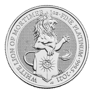 1 oz 2021 Royal Mint Queen's Beasts | White Lion of Mortimer Platinamynt