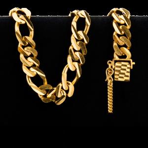 Bracelet en or 22 carats de style Figarucci de 72,5 grammes