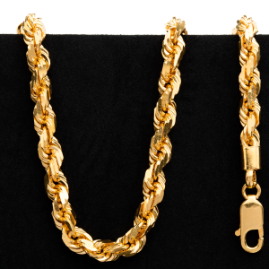 91.0 gram 22 kt Twisted Rope Style Gold Necklace