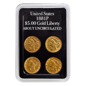1881 US $5 Gold Liberty 4-pack (About Uncirculated)